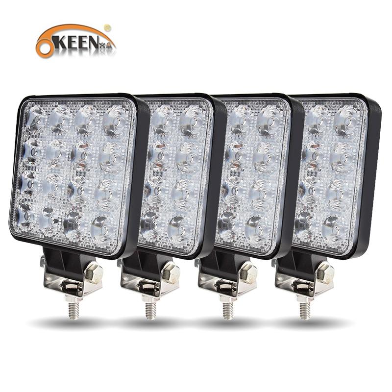 OKEEN New Led light bar 48w Led bar 16barra Square Spotlight Off road LED work light 12V 24V For Car Truck 4X4 4WD Car SUV ATV