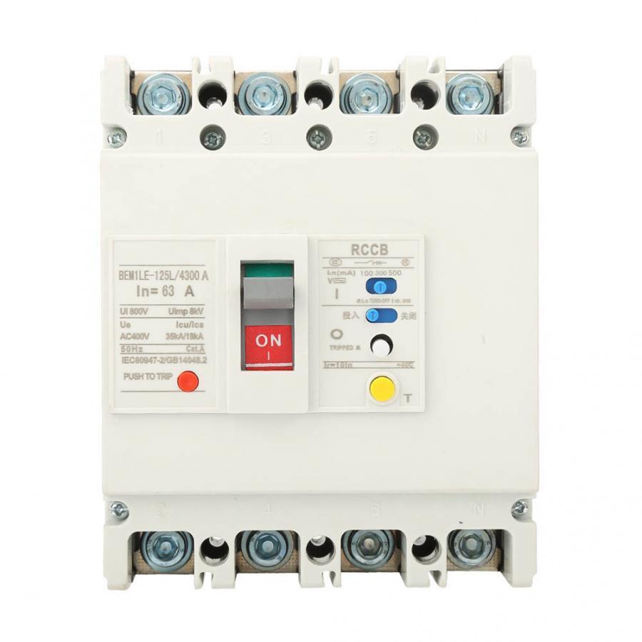 3P + N Disyuntor de corriente Residual diferencial interruptor de aire 800V 63A/80A/125A Disyuntor de corriente Residual