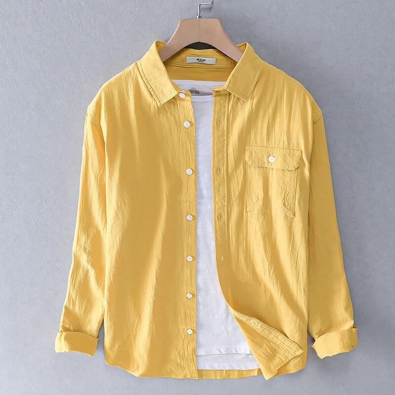 2020 camisas casuais dos homens 100% algodão único breasted magro sólido amarelo manga longa marca vestuário plus size M-3XL y2312