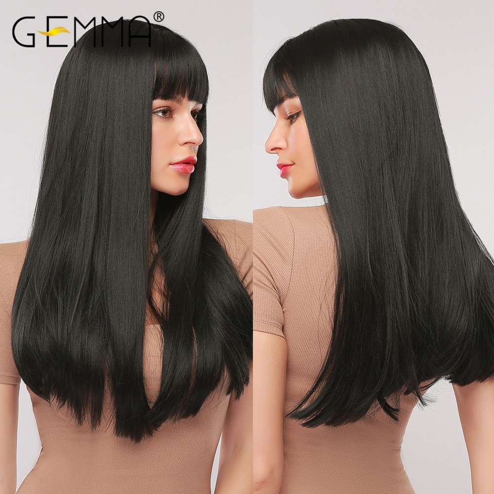 GEMMA Cosplay Long Straight Black Synthetic Wigs with Bangs for Women African American Lolita Daily Party Heat Resistant Fibre