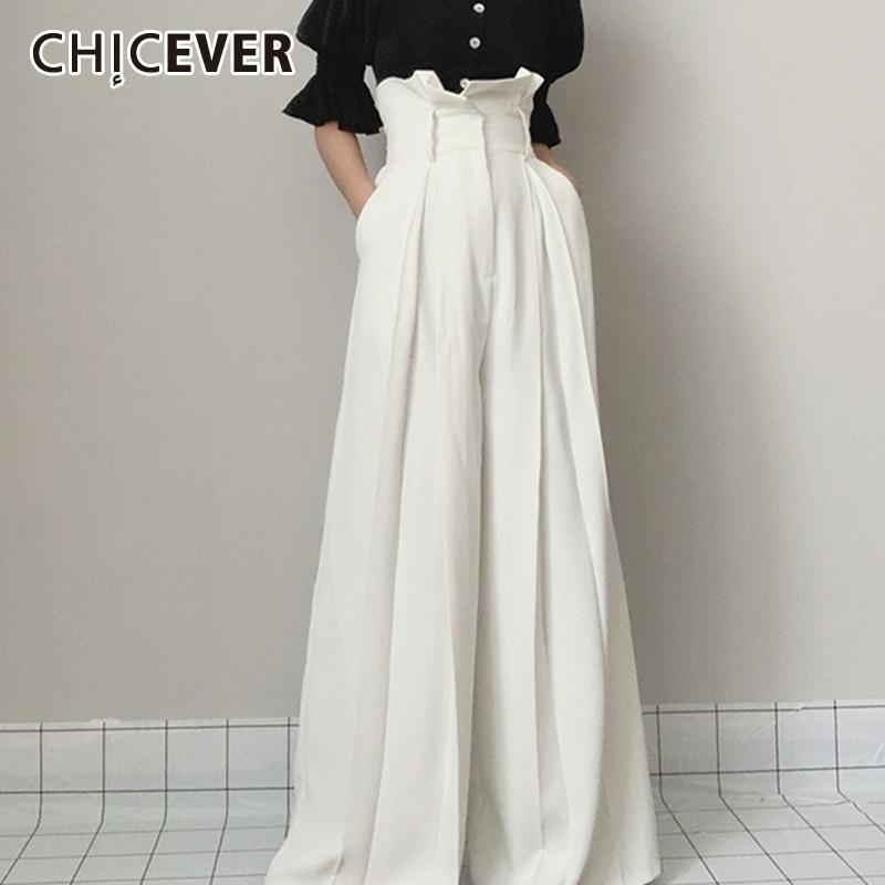 CHICEVER-بنطلون نسائي سادة ، بنطلون طويل ، خصر مرتفع ، مطوي ، فضفاض ، أرجل واسعة ، مقاس كبير ، ملابس خريف 2021
