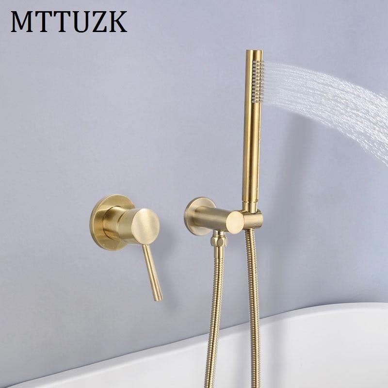 MTTUZK-صنبور حوض الاستحمام من النحاس الذهبي المصقول ، مجموعة صنبور خلاط الماء الساخن والبارد الأسود المثبت على الحائط مع دش يدوي