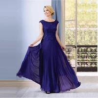 2020 new sapphire lace cap sleeve boat neck mother of the bride dresses floor length wedding party gowns
