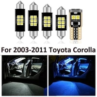 8pcs car white interior led light bulb package kit for toyota corolla 2003 2011 map dome license lamp car styling plate light