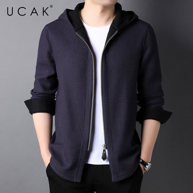 UCAK Brand Classic Hooded Cardigans Men Sweatercoat Clothing New Streetwear Solid Color Pockets Cardigan Coat Pull Homme U1345