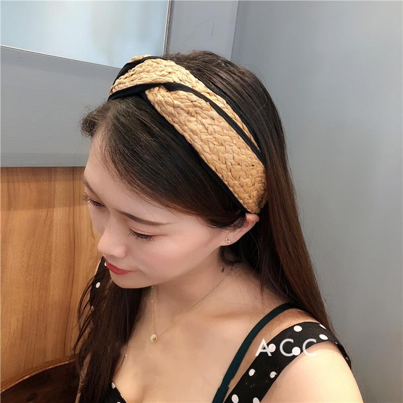 M MISM Straw Hair Bands Girls Bohemian Wide Cross Knot Headband Camel Hair Hoop Black Wrapping Bezel Handmade Hair Accessories