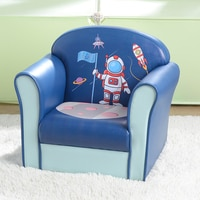 Children Single Sofa Blue PU Space Series Astronaut Soft Comfortable Fashionable Kids Furniture Girl Boy Relax Play (50x39x44)cm