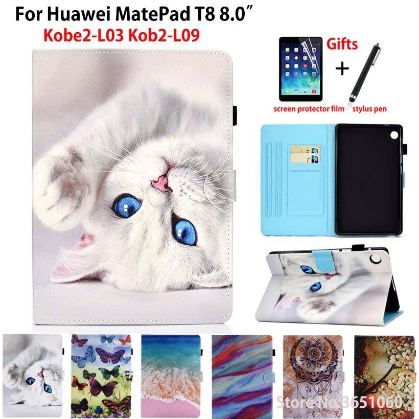 Case para Huawei Suporte de Couro Escudo + Presente Gato Bonito Matepad Capa Coque Kob2-w09 Kob2-l09 Kobe2-l03 Funda Tablet Silicone Plutônio t8