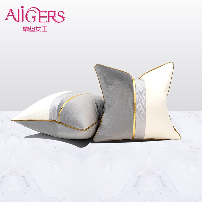 AliExpress - Avigers Velvet Leather Patchwork Cushion Covers Navy Blue Yellow Gray Throw Pillow Cases for Living Room Bedroom Sofa Car