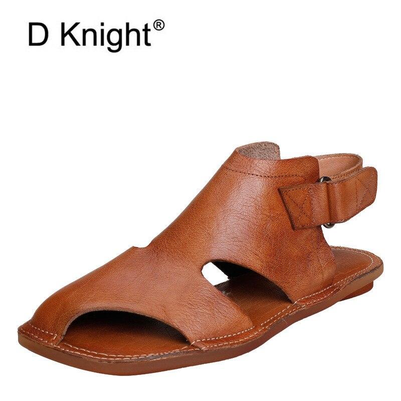Verano 2020 nuevos zapatos planos para la playa sandalias de mujer Retro cuero genuino Fondo suave sandalias gladiador zapatos para mujer talla grande 40