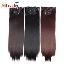 Alileader 16 Clips In Hair Extensions Vrouwen Natuurlijke Hair Extensions 6 Stks/set 16 Kleuren 22 Inch Synthetisch Haar Stuk