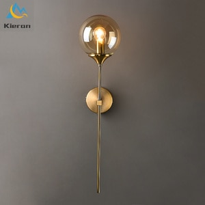 Modern Glass Ball LED Wall Sconce Light Clear Amber Washroom Mirror Wall Lamps Rust and Corrosion Prevention Room Decor Walllamp