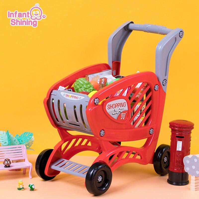 Infant Shining Children's Shopping Cart Toy Supermarket Shopping Puzzle Shopping Cart Toy Trolley Toy Car Cart Kids Girls Gift
