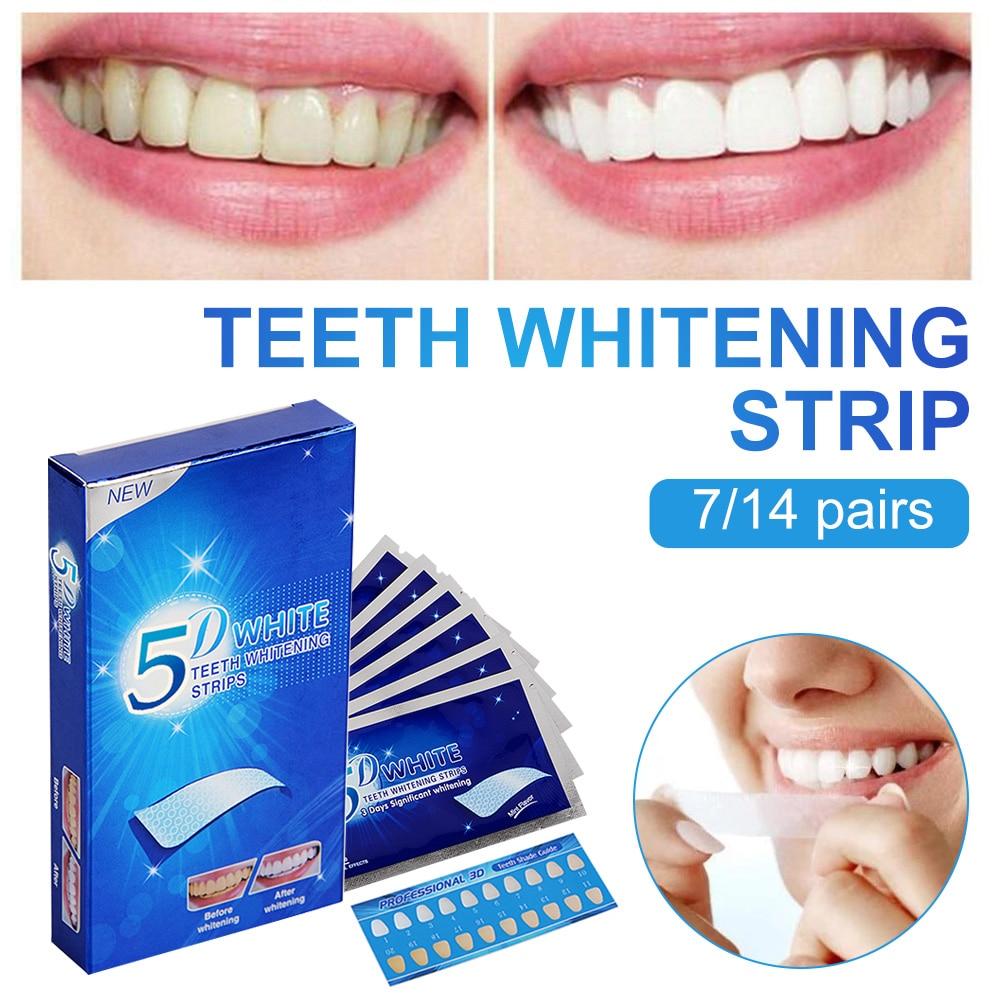 Полоски 5D для отбеливания зубов, двойные эластичные полоски для гигиены полости рта, инструмент для отбеливания зубов, 28 шт.
