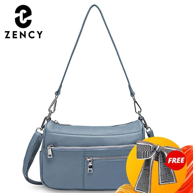 Zency Noble Temperament Women Shoulder Bag 100% Genuine Leather Spring Linen Blue Fashion Crossbody Purse Beige Hobos Handbag