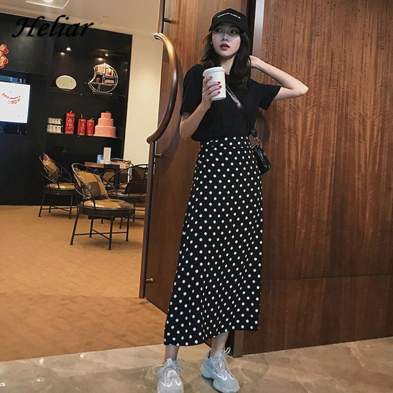 Heliar Polka Dot Women BOHO Skirt Romantic Style High Waist Midi Skirt Female Casual A-line Lady 2019 Autumn Cotton Skirt Women