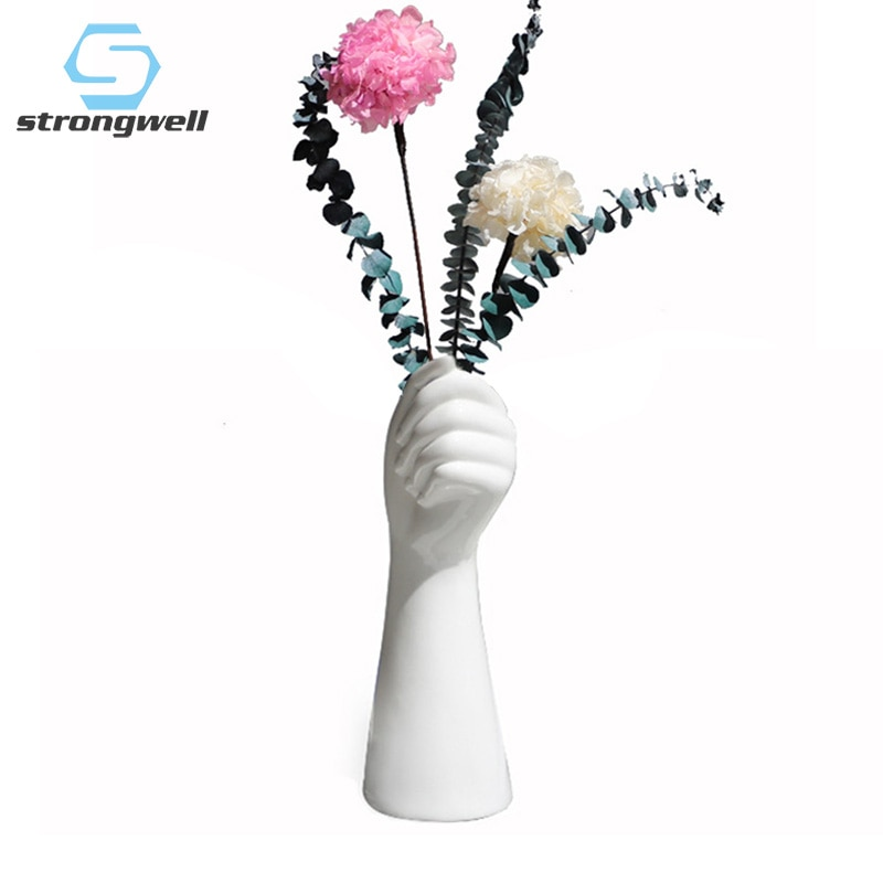 Strongwell イン北欧拳手セラミックス花瓶現代のミニマリストのクリエイティブ工芸品園芸水耕花瓶家の装飾