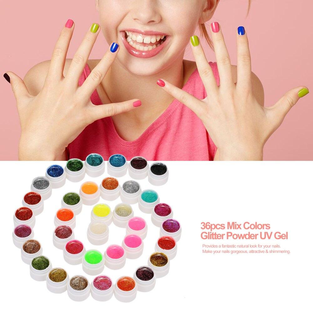ANSELF 36 Uds mezclar colores profesional conjunto de Gel UV Builder Gel para uñas brillo de barniz en polvo Gel UV de manicura de Gel de extensión para esmalte
