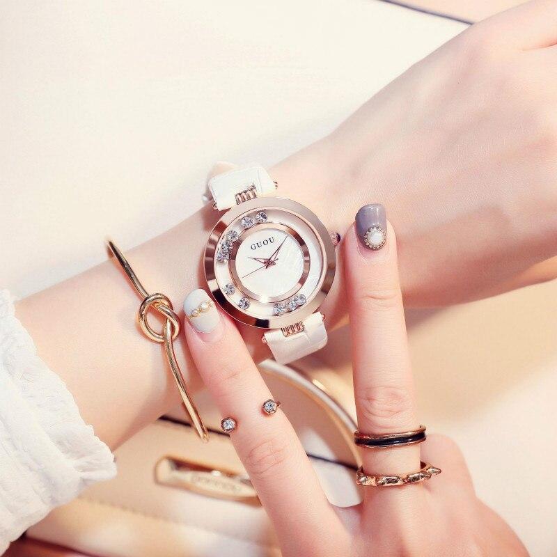 Rotating Rhinestone Luxury Watch Women Quartz Wristwatch Fashion Elegant Steel Leather Strap Womens Watches Designer Reloj Mujer enlarge