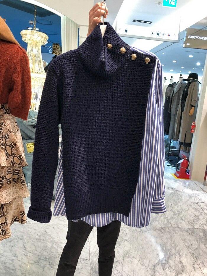 Qiu dong temporada nova camisa de gola alta emenda camisola ultra feminino edição han férias dois solto moda coringa fogo malhas