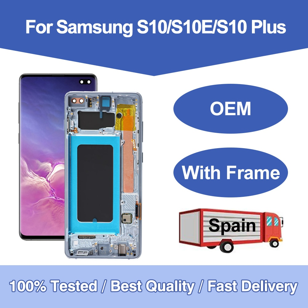 لسامسونج غالاكسي S10 5G S10 Plus S10e مع الإطار OLED شاشة تعمل باللمس الجمعية استبدال الأسود