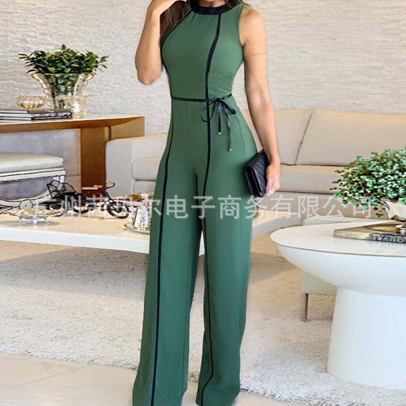 2021 European and American new style webbing strip decoration tight-fitting jumpsuit wide-leg pants woman dress