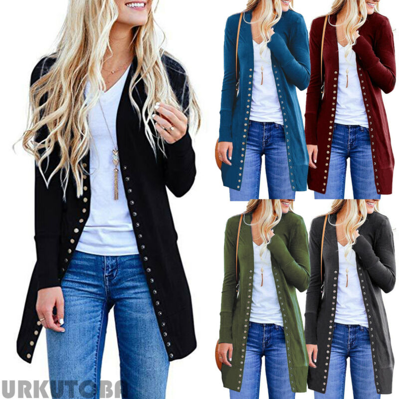 Feminino casual de malha sólido longo botão de roupas manga longa aberto frente cardigan camisola botão para baixo casaco outwear