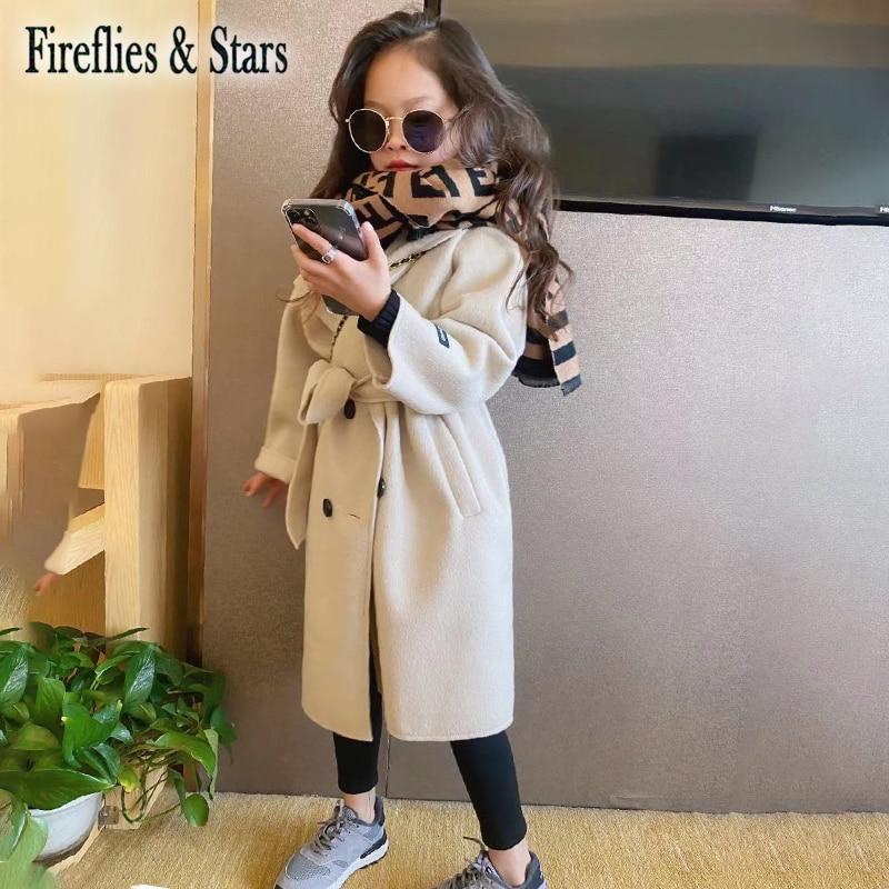 معطف خريفي وشتوي للبنات ، معطف طويل للأولاد ، ملابس خارجية ذات علامة تجارية ، أزياء مزدوجة الوجه ، حزام خصر من الصوف من 3 إلى 14 سنة
