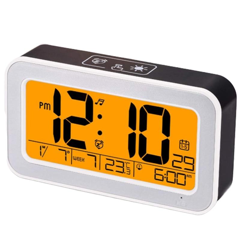 Reloj despertador de música caliente, reloj Digital para dormitorio con atenuador, repetición, reloj recargable USB con alarma Dual, prensa inteligente Backlig