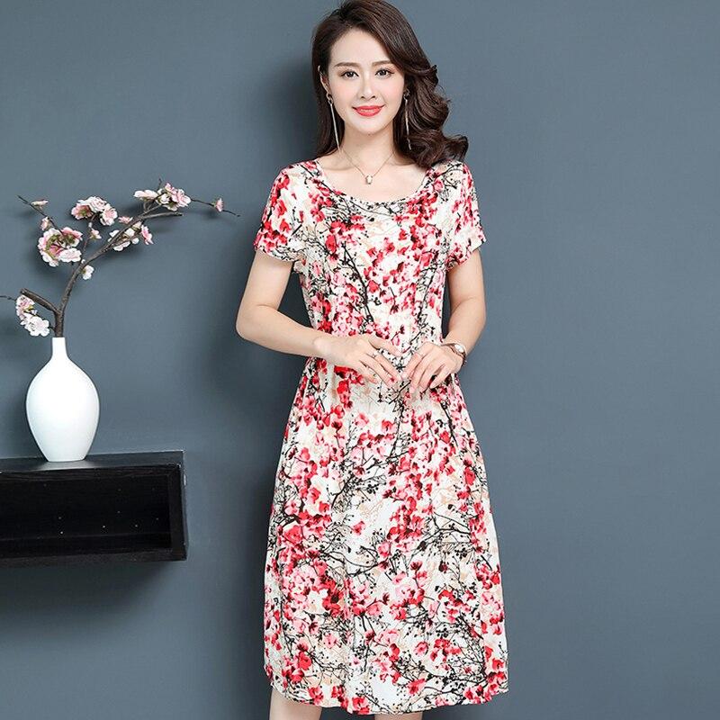 Women Dress 2020 Summer Slim Tunic Floral Print Casual Plus Size Vestido Feminino Loose Dresses Clothes XL-5XL