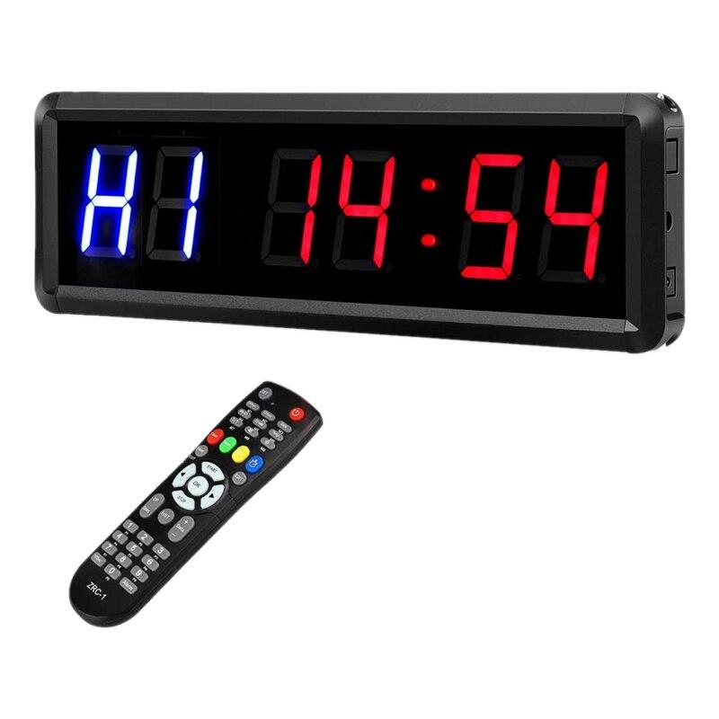 Intervalle de LED 1.5 pouces 6 chiffres salle de sport entraînement minuterie compte à rebours horloge chronomètre minuteur avec télécommande pour la remise en forme à domicile prise ue