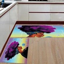 Alfombrilla de cocina antideslizante africana para mujer, alfombra estampada de pelo morado, Felpudo de pasillo, Alfombra de baño para sala de estar