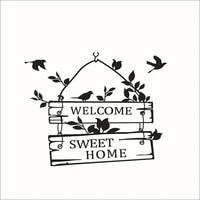Bienvenue doux maison Stickers muraux decor a la maison salon porte signe oiseaux fleur vigne Stickers muraux vinyle Mural Art pour autocollant Mural