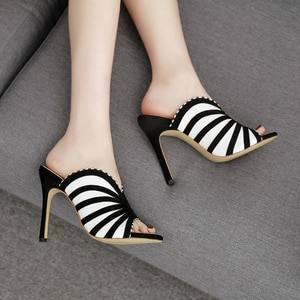 Ultra-Fine High-Heeled Women's Sandals Black White Zebra Print Color-Block Slippers Peep Toes Suede Striped Women's Shoes Sexy