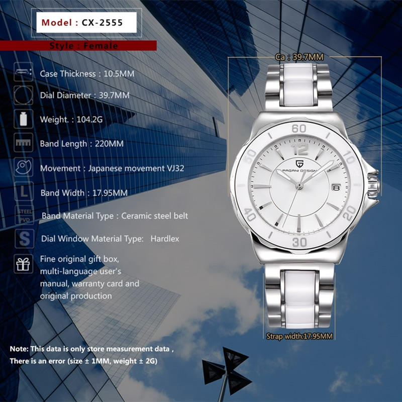 Reloj Mujer PAGANI DESIGN Ladies High Quality Watches Ceramic Bracelet Famous Luxury Brand Fashion Watch Women Relogio Feminino enlarge