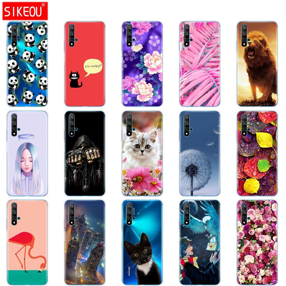 For Huawei Nova 5T Case Soft TPU Back Silicon Phone Cover For Nova5T 5 T YAL-L21 6.26'' Fundas Coque Bumper Cat flower
