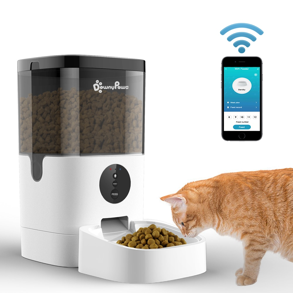4/6L Automatic Pet Feeder For Cats WiFi Smart Swirl Slow Dog Feeder With Voice Recorder Large Capacity Timing Cat Food Dispenser