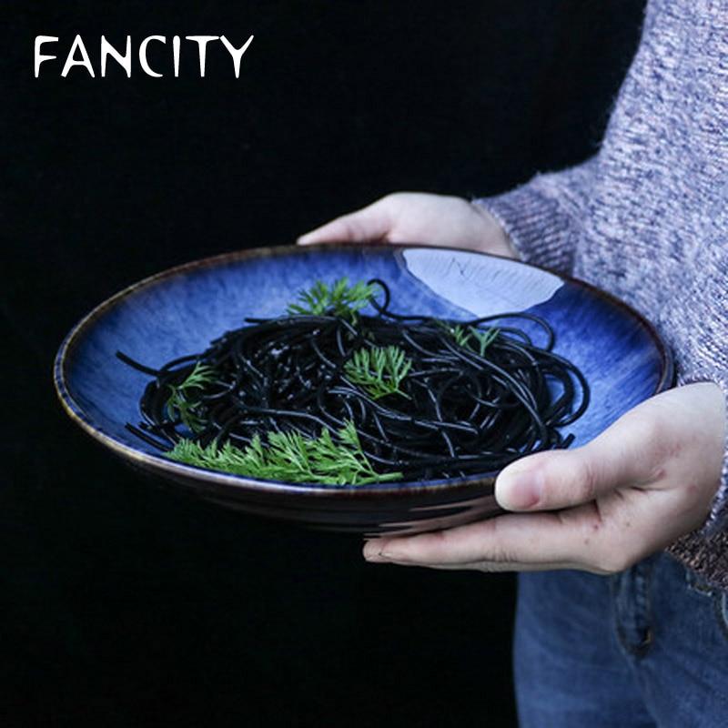 وعاء خزفي مبتكر ، طبق سلطة فواكه ، المعكرونة ، الطعام الغربي ، وعاء الأرز المنزلي ، وعاء الحساء ، وعاء المعكرونة الباردة