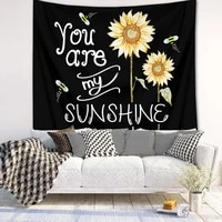 yellow sunflowers tapestry wall hanging flower plant printed boho wall art tapestries home decor for living room bedroom dorm