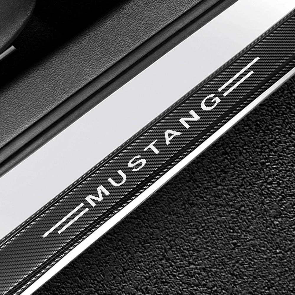 Pegatinas de 4 Uds. Para Ford Mustang alféizares de puertas de coche, cubierta de Pedal antiarañazos, Protector de puerta de coche, accesorios de carbono antiarañazos