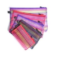 3pcs colorful file pockets nylon mesh zipper file storage bags documents organizer pouch a4 a5 b6