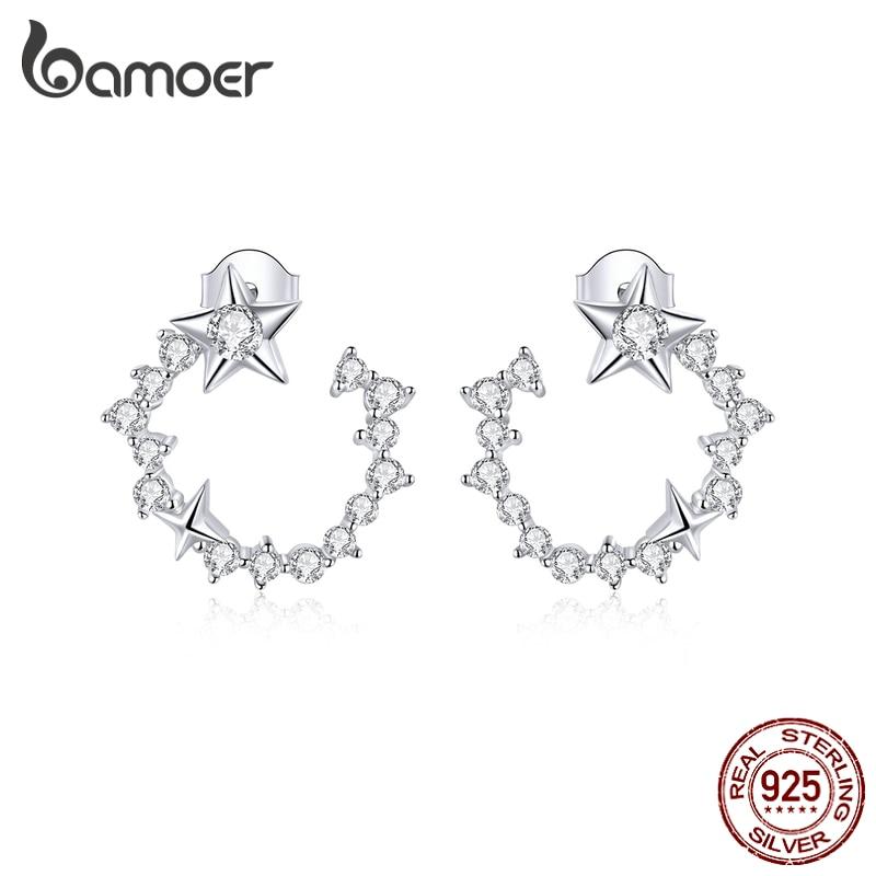 Bamoer authentic 925 prata esterlina deslumbrante estrelas redondas brincos para mulheres prata 925 jóias anti-alergia presentes bse360