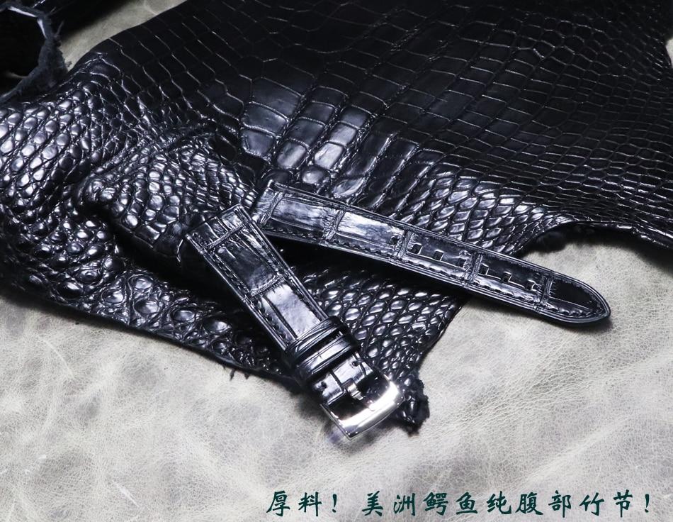 Pele de Crocodilo Pulseira de Relógio Pulseira de Couro Relógio de Banda Homem Artesanal Slub Padrão Genuíno Vintage Elegante Preto High-end 19 20mm