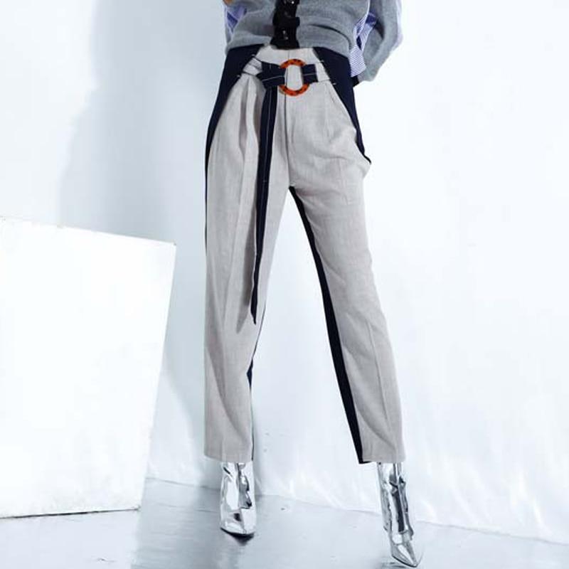 Женские льняные брюки, элегантный ремень, два цвета, блок, Офисная Леди, контрастная строчка, брюки, широкие брюки, лоскутные прямые Палаццо