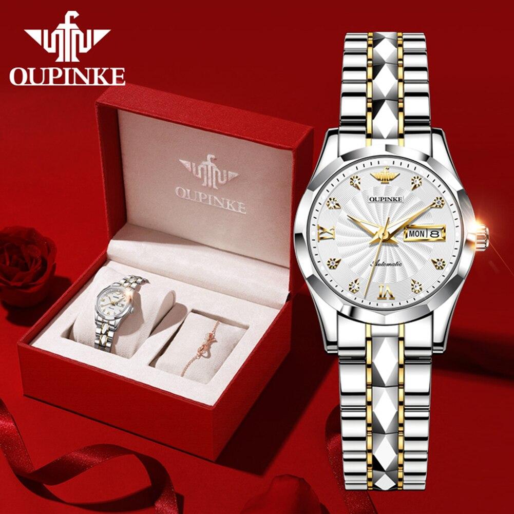 OUPINKE Mechanical Women Watch Fashion Switzerland Luxury Brand Ladies Wrist Watch Automatic Original Design montre femme 3169