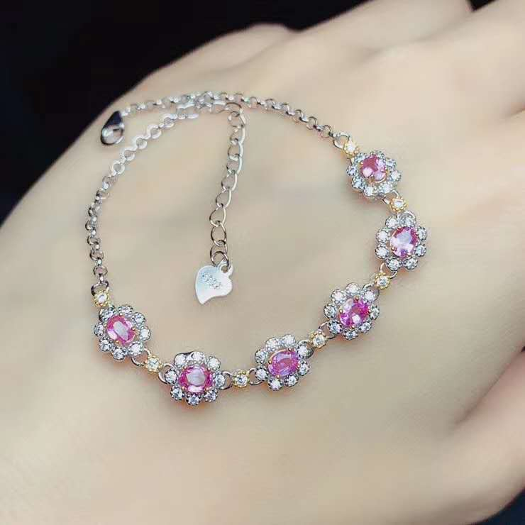 Natural Sri Lanka Ceylon Pink Sapphire Bracelet  Fine Jewelry 3x4mm