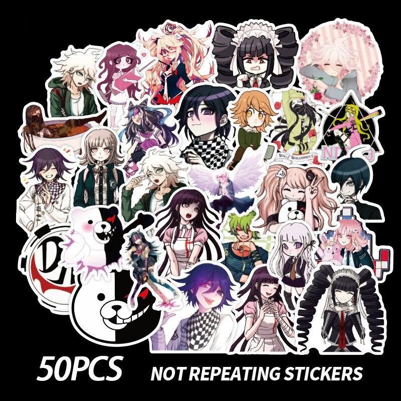 50 Pçs/set Danganronpa Anime Adesivos de Metal Adesivo Decalque Para Computador Portátil Secretária Livro Stiker DIY Brinquedo Do Carro Do Telefone