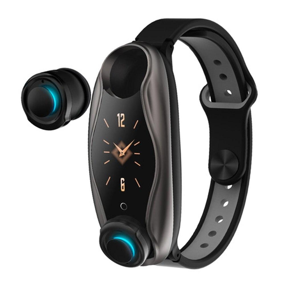 T90 Fitness pulsera auricular inalámbrico 2 en 1 5,0 Chip IP67 impermeable reloj deportivo inteligente deportes pantalla de color