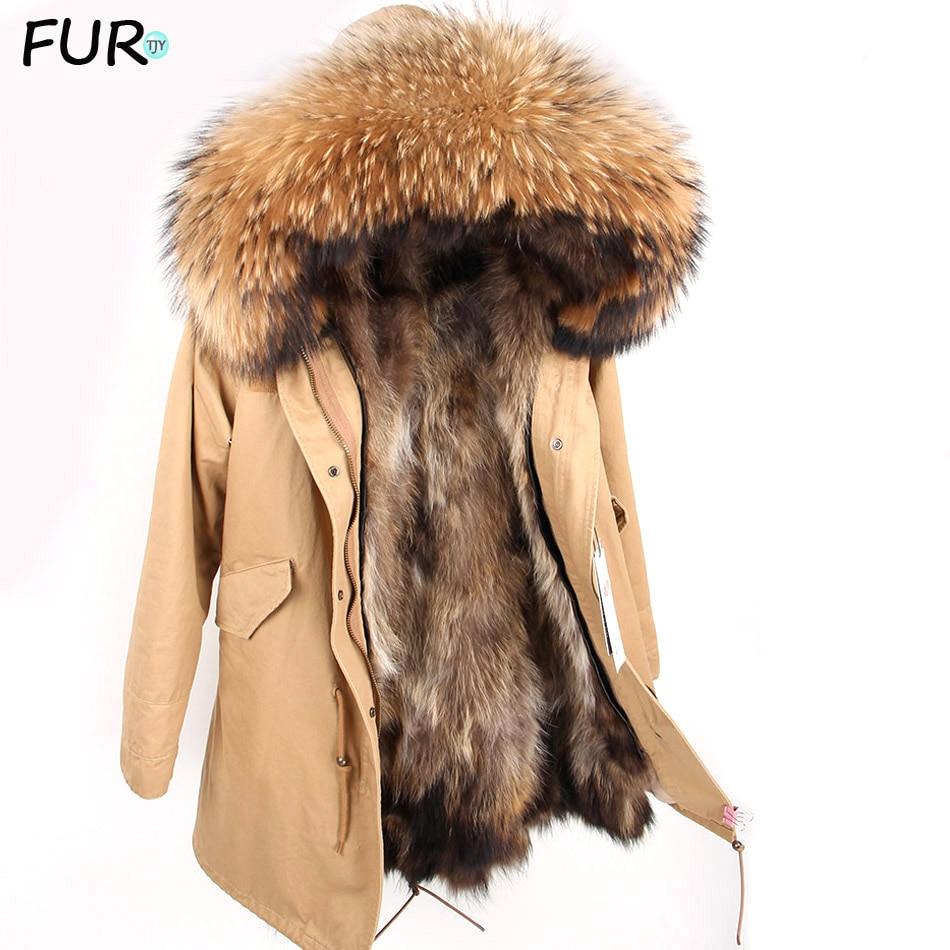 Men's Real raccoon fur Jacket Men Real Fur Parka with Removable Raccoon Fur Liner Hood Winter Long Warm Coat
