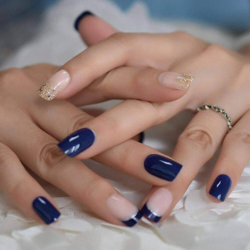 Moderno brillo Gitter desnudo puntas postizas para uñas francesas uñas Gel UV azul profundo Artificial prensa completa en salón de uñas falsas decoradas